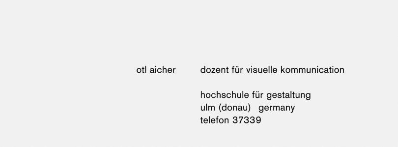 Otl Aicher biz card
